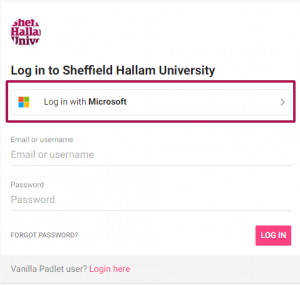 Padlet login page with Microsoft login option highlighted